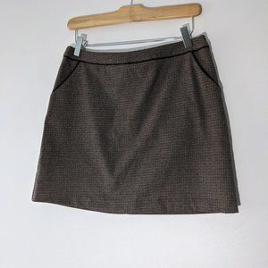 H&M Houndstooth Zip Back Mini Skirt with Pockets Beige Brown Size 6